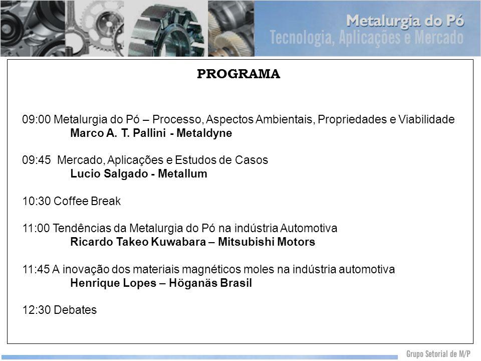 PROGRAMA 09:00 Metalurgia do Pó – Processo, Aspectos Ambientais, Propriedades e Viabilidade. Marco A. T. Pallini - Metaldyne.