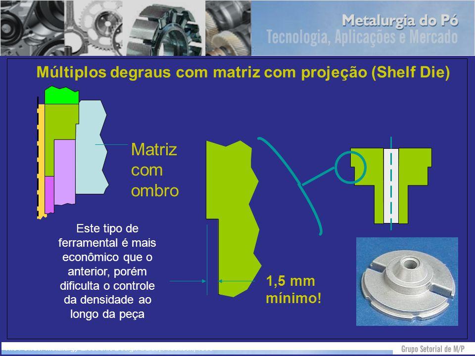Múltiplos degraus com matriz com projeção (Shelf Die)