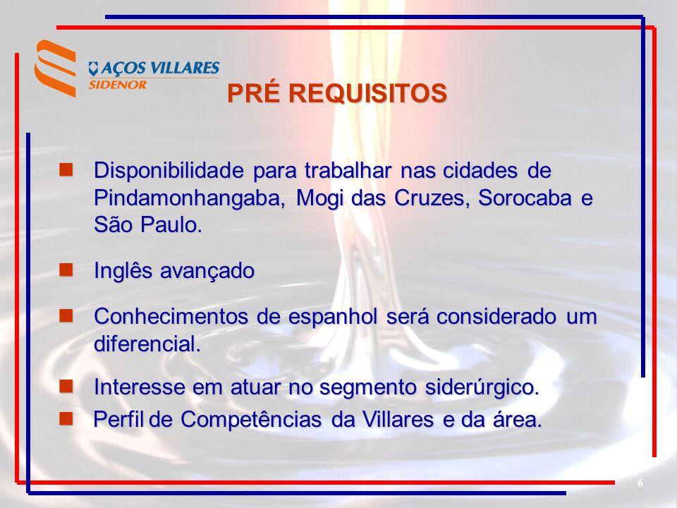 PRÉ REQUISITOS Disponibilidade para trabalhar nas cidades de Pindamonhangaba, Mogi das Cruzes, Sorocaba e São Paulo.