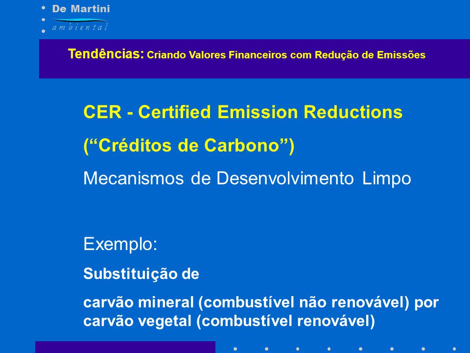 CER - Certified Emission Reductions ( Créditos de Carbono )