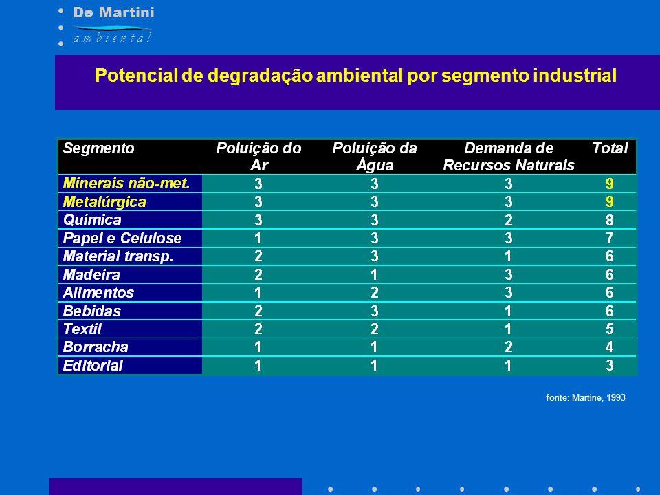 Potencial de degradação ambiental por segmento industrial