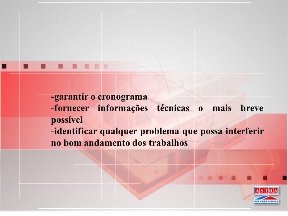garantir o cronograma fornecer informações técnicas o mais breve possível.