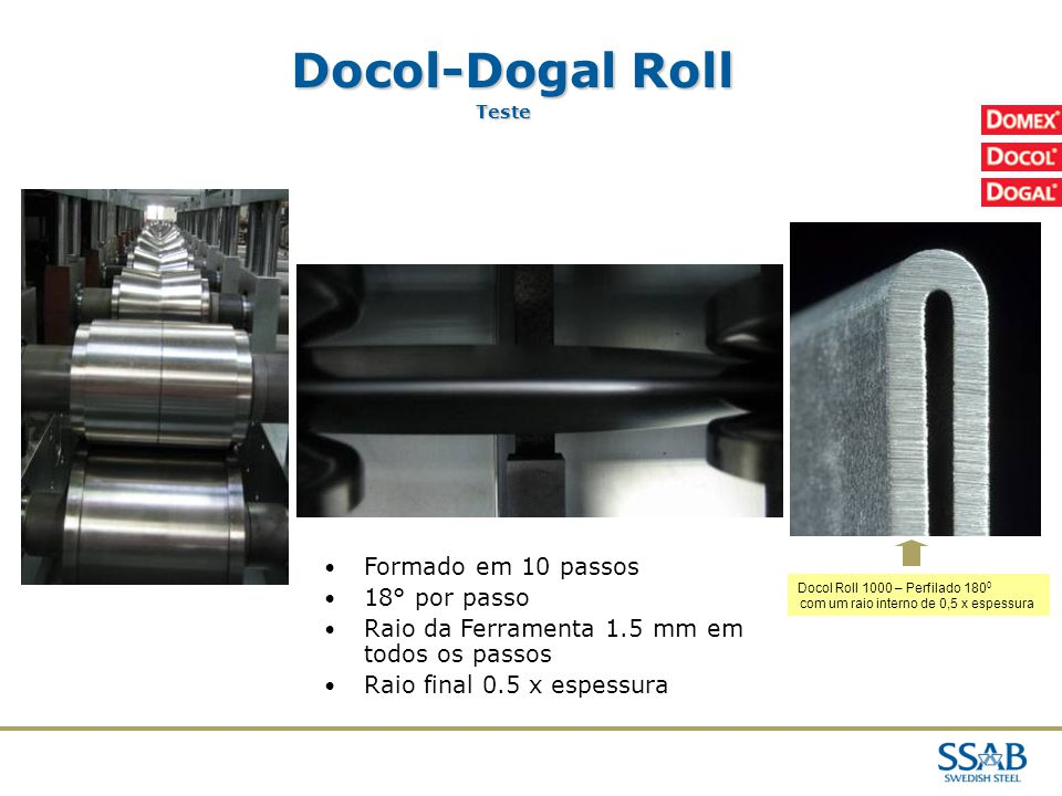 Docol-Dogal Roll Formado em 10 passos 18° por passo