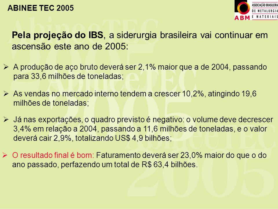 Pela projeção do IBS, a siderurgia brasileira vai continuar em ascensão este ano de 2005: