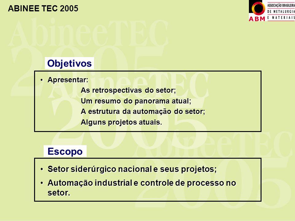 Objetivos Escopo Setor siderúrgico nacional e seus projetos;