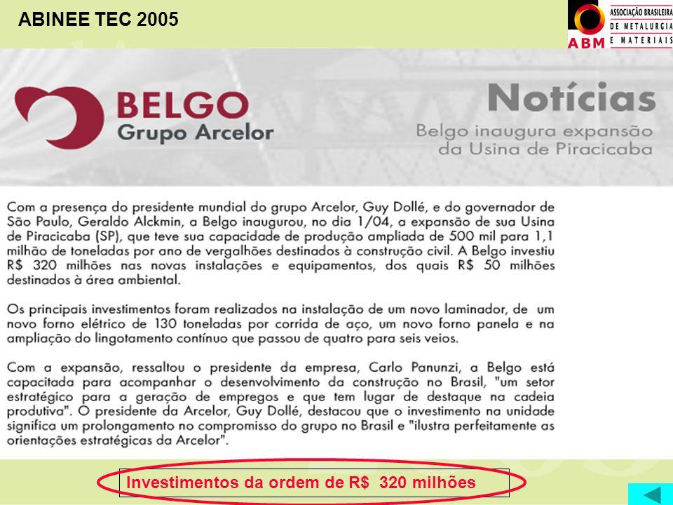 Investimentos da ordem de R$ 320 milhões