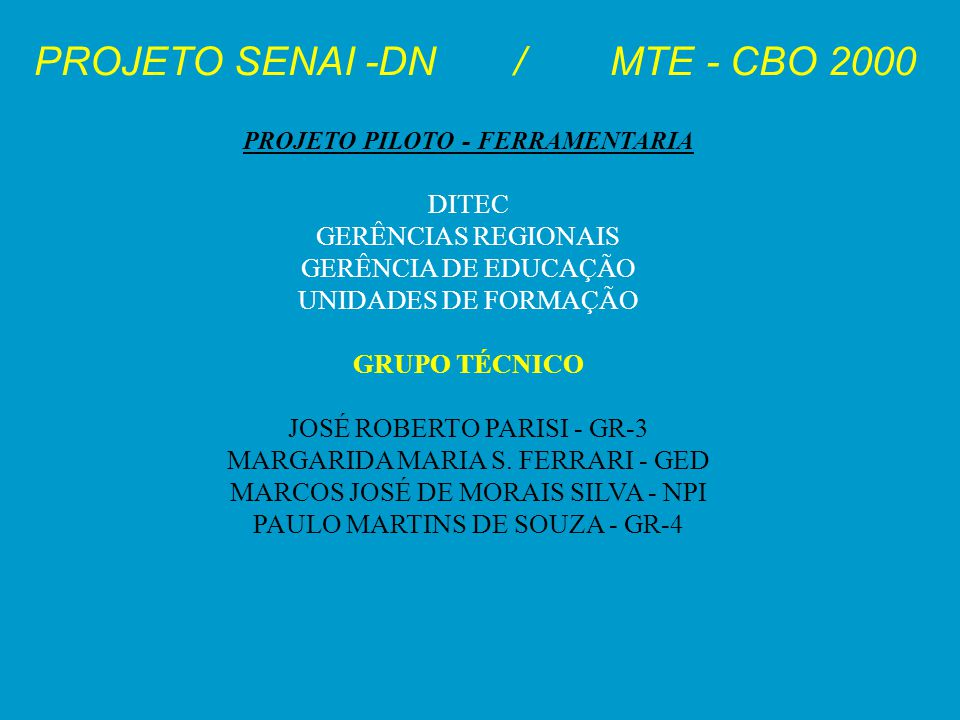 PROJETO SENAI -DN / MTE - CBO 2000