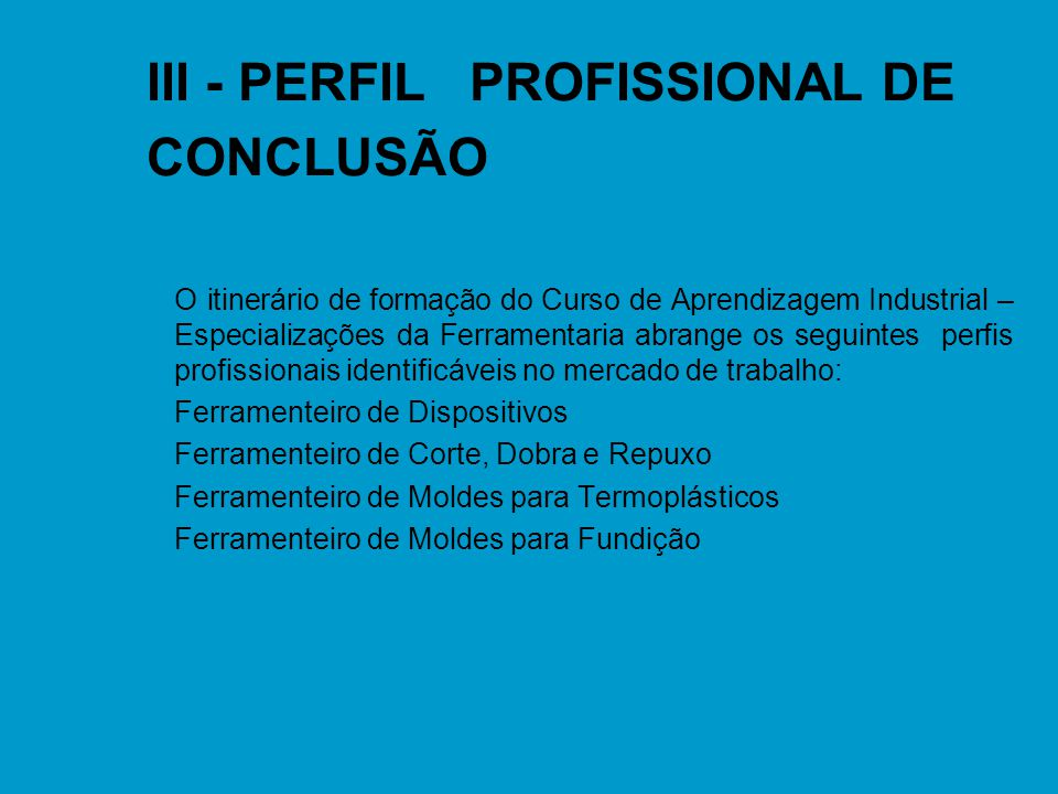 III - PERFIL PROFISSIONAL DE CONCLUSÃO
