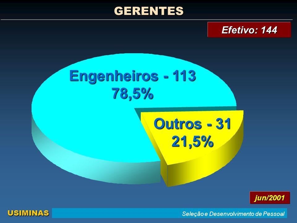 Engenheiros - 113 78,5% Outros - 31 21,5%