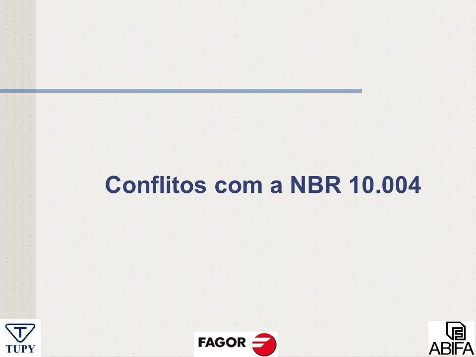 Conflitos com a NBR 10.004