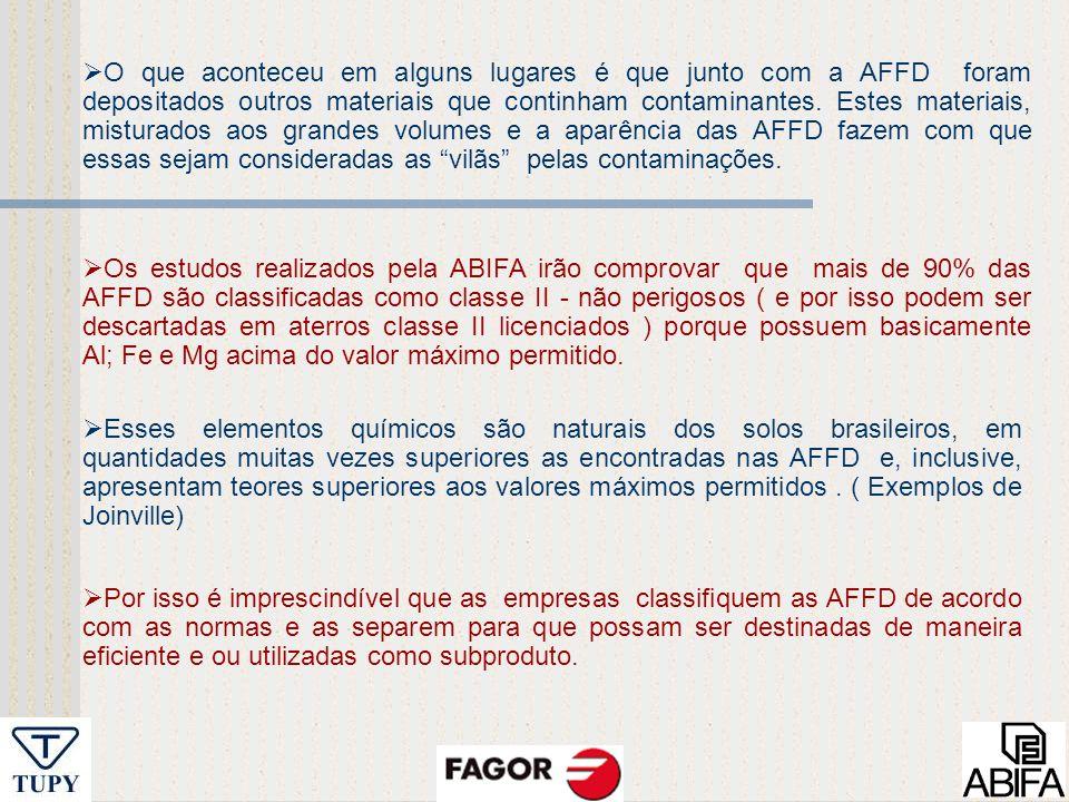 O que aconteceu em alguns lugares é que junto com a AFFD foram depositados outros materiais que continham contaminantes. Estes materiais, misturados aos grandes volumes e a aparência das AFFD fazem com que essas sejam consideradas as vilãs pelas contaminações.