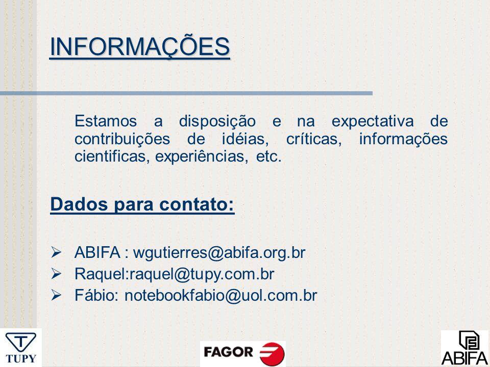 INFORMAÇÕES Dados para contato: