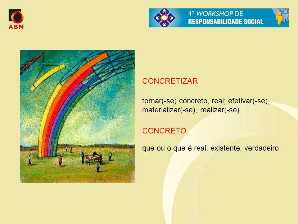 CONCRETIZAR CONCRETO tornar(-se) concreto, real; efetivar(-se),