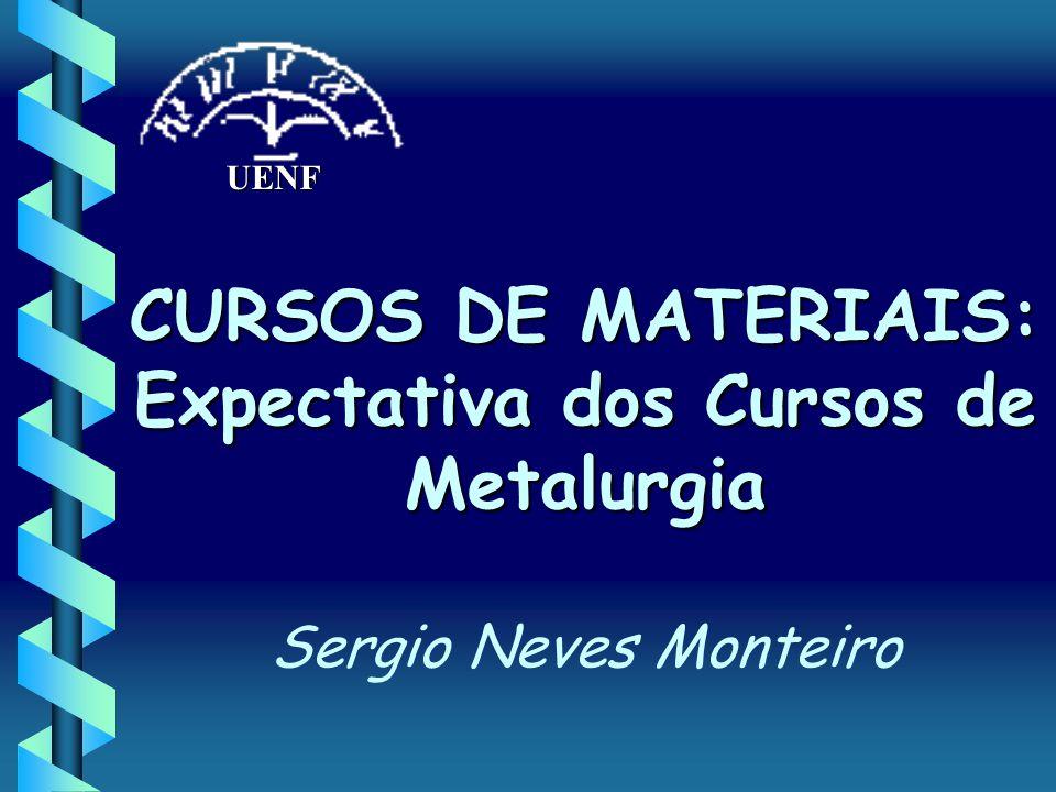 UENF CURSOS DE MATERIAIS: Expectativa dos Cursos de Metalurgia Sergio Neves Monteiro