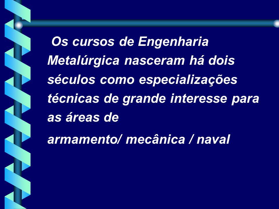 Os cursos de Engenharia Metalúrgica nasceram há dois séculos como especializações técnicas de grande interesse para as áreas de