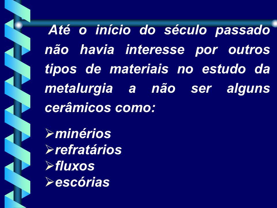 Até o início do século passado não havia interesse por outros tipos de materiais no estudo da metalurgia a não ser alguns cerâmicos como: