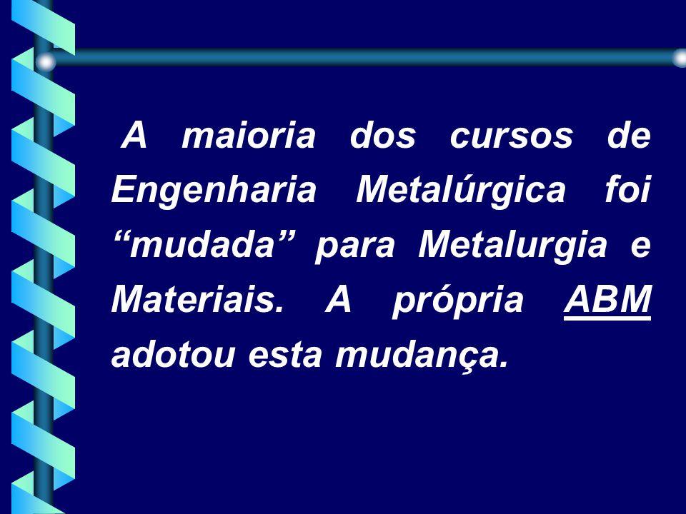 A maioria dos cursos de Engenharia Metalúrgica foi mudada para Metalurgia e Materiais.