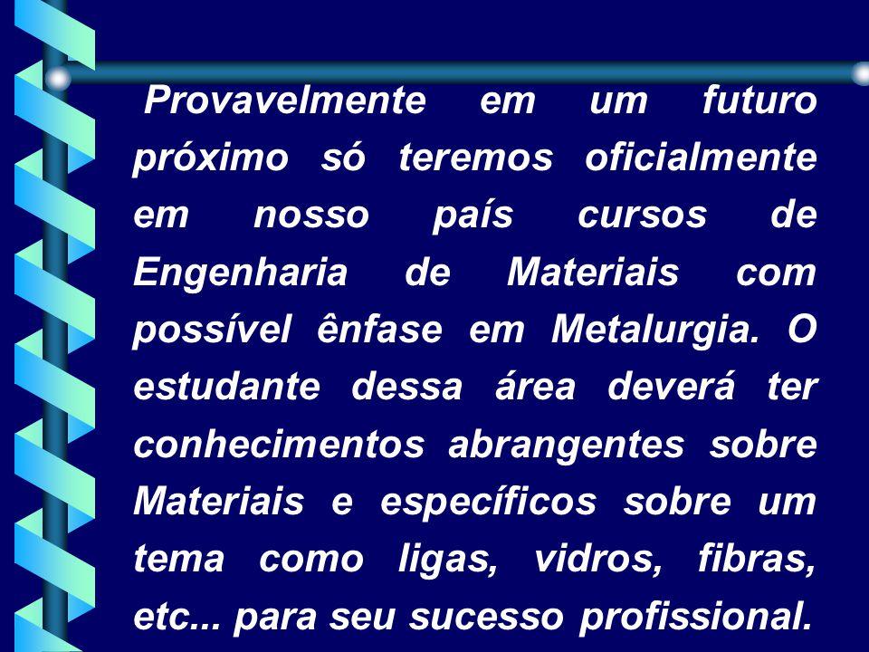 Provavelmente em um futuro próximo só teremos oficialmente em nosso país cursos de Engenharia de Materiais com possível ênfase em Metalurgia.