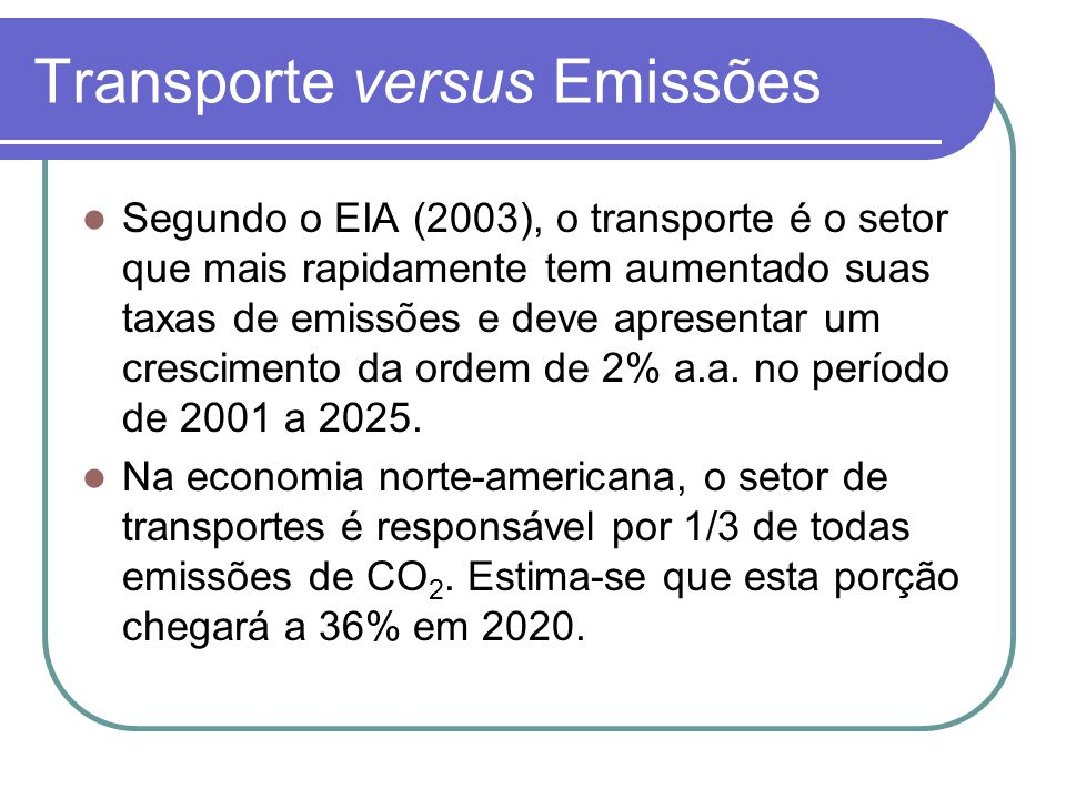 Transporte versus Emissões