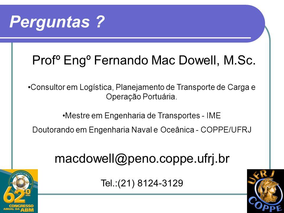 Perguntas Profº Engº Fernando Mac Dowell, M.Sc.