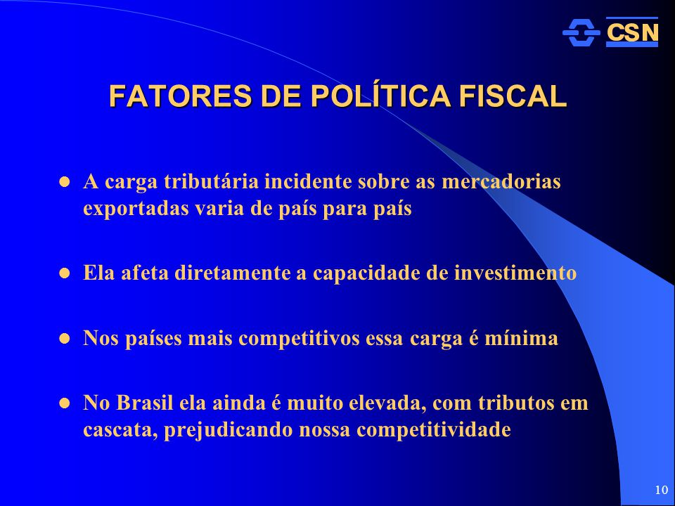 FATORES DE POLÍTICA FISCAL