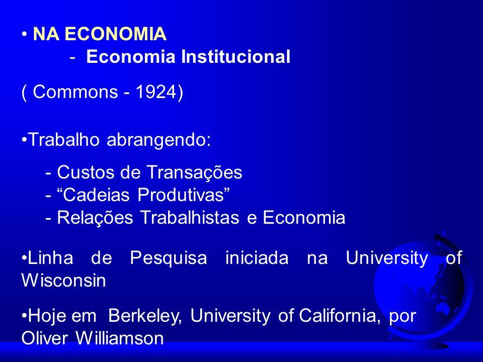 NA ECONOMIA - Economia Institucional. ( Commons - 1924) Trabalho abrangendo: - Custos de Transações.