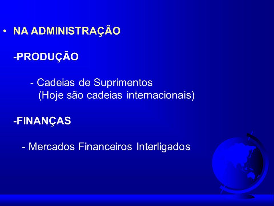 NA ADMINISTRAÇÃO -PRODUÇÃO. - Cadeias de Suprimentos. (Hoje são cadeias internacionais) -FINANÇAS.