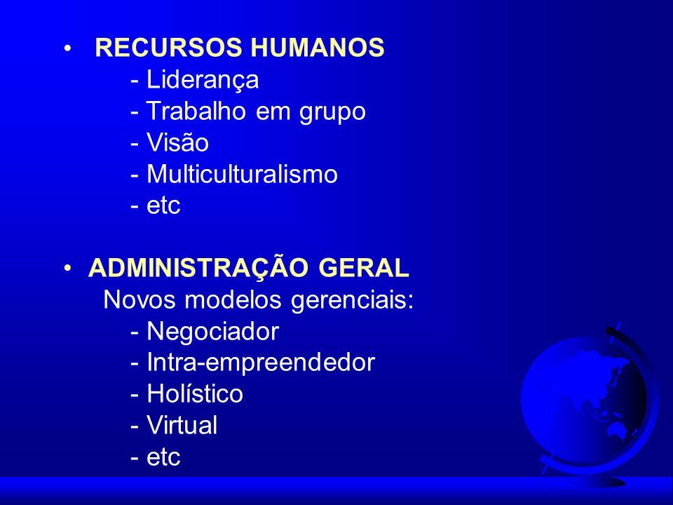 RECURSOS HUMANOS - Liderança. - Trabalho em grupo. - Visão. - Multiculturalismo. - etc. ADMINISTRAÇÃO GERAL.