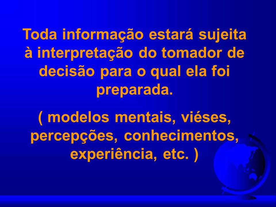 Toda informação estará sujeita à interpretação do tomador de decisão para o qual ela foi preparada.