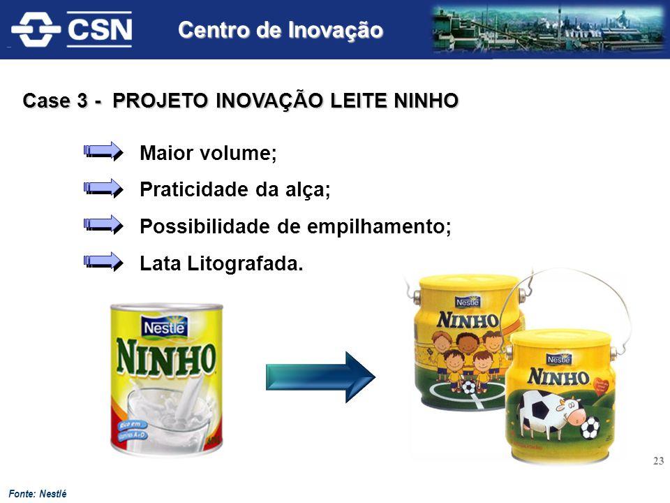 Centro de Inovação Case 3 - PROJETO INOVAÇÃO LEITE NINHO Maior volume;