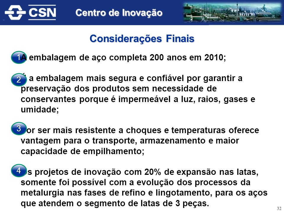 Considerações Finais Centro de Inovação