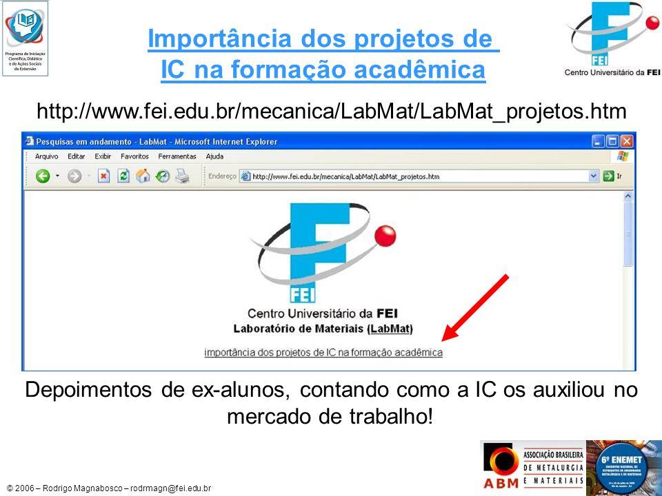Importância dos projetos de IC na formação acadêmica
