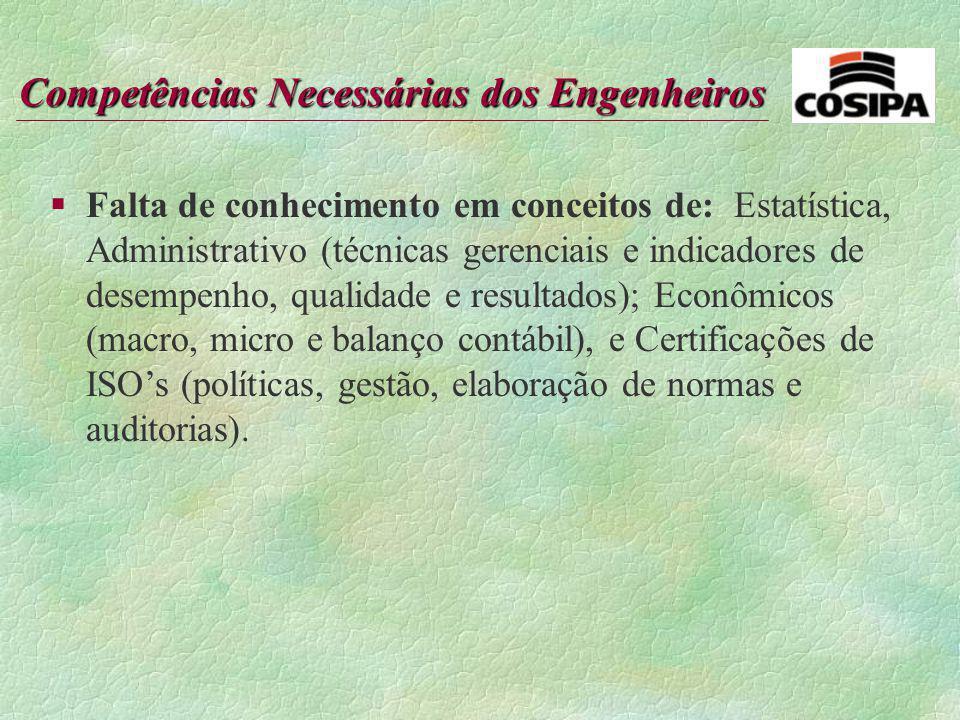 Falta de conhecimento em conceitos de: Estatística, Administrativo (técnicas gerenciais e indicadores de desempenho, qualidade e resultados); Econômicos (macro, micro e balanço contábil), e Certificações de ISO's (políticas, gestão, elaboração de normas e auditorias).