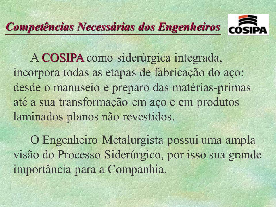 A COSIPA como siderúrgica integrada, incorpora todas as etapas de fabricação do aço: desde o manuseio e preparo das matérias-primas até a sua transformação em aço e em produtos laminados planos não revestidos.