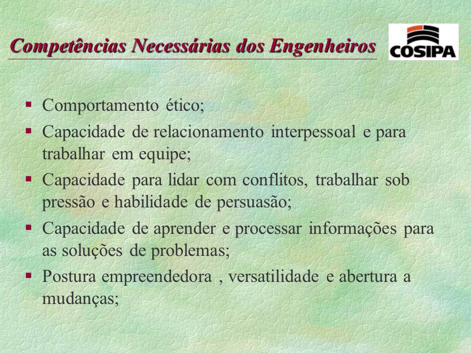 Comportamento ético; Capacidade de relacionamento interpessoal e para trabalhar em equipe;