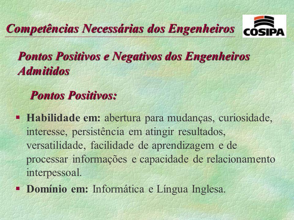 Pontos Positivos e Negativos dos Engenheiros Admitidos