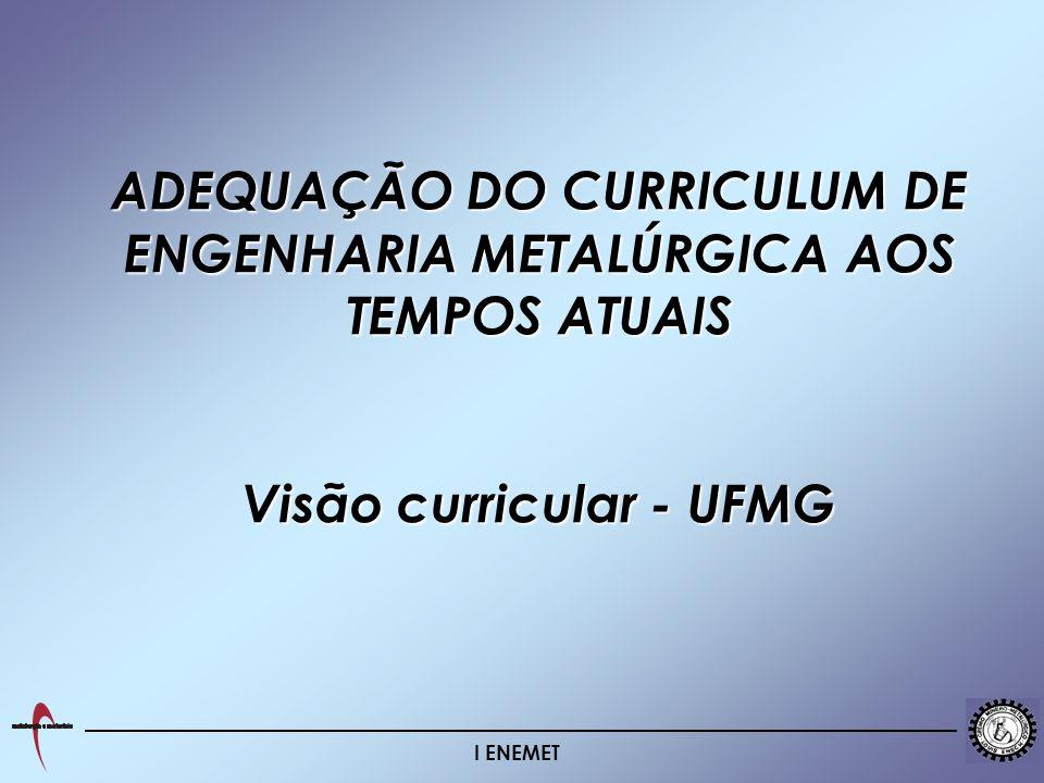 ADEQUAÇÃO DO CURRICULUM DE ENGENHARIA METALÚRGICA AOS TEMPOS ATUAIS