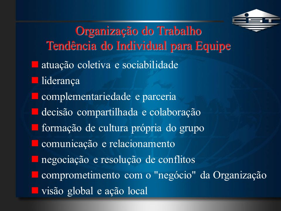 Organização do Trabalho Tendência do Individual para Equipe