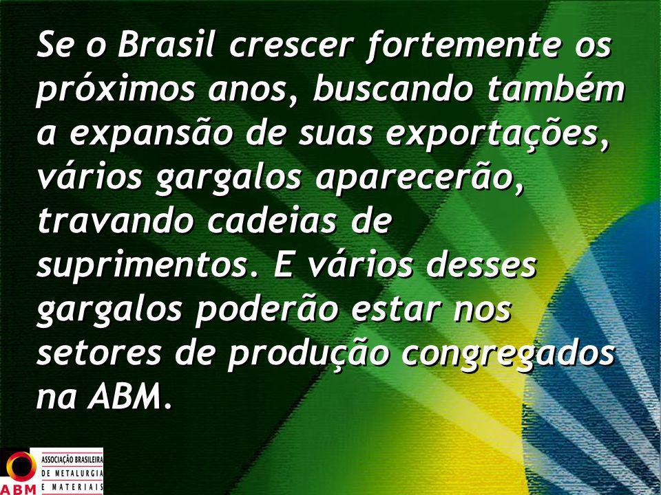 Se o Brasil crescer fortemente os próximos anos, buscando também a expansão de suas exportações, vários gargalos aparecerão, travando cadeias de suprimentos.