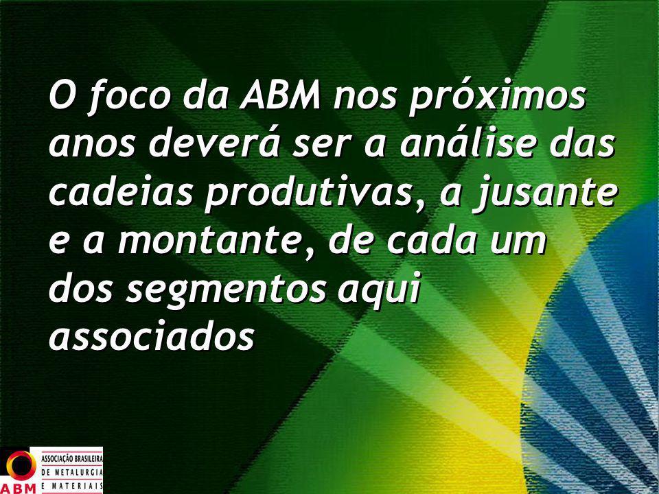 O foco da ABM nos próximos anos deverá ser a análise das cadeias produtivas, a jusante e a montante, de cada um dos segmentos aqui associados