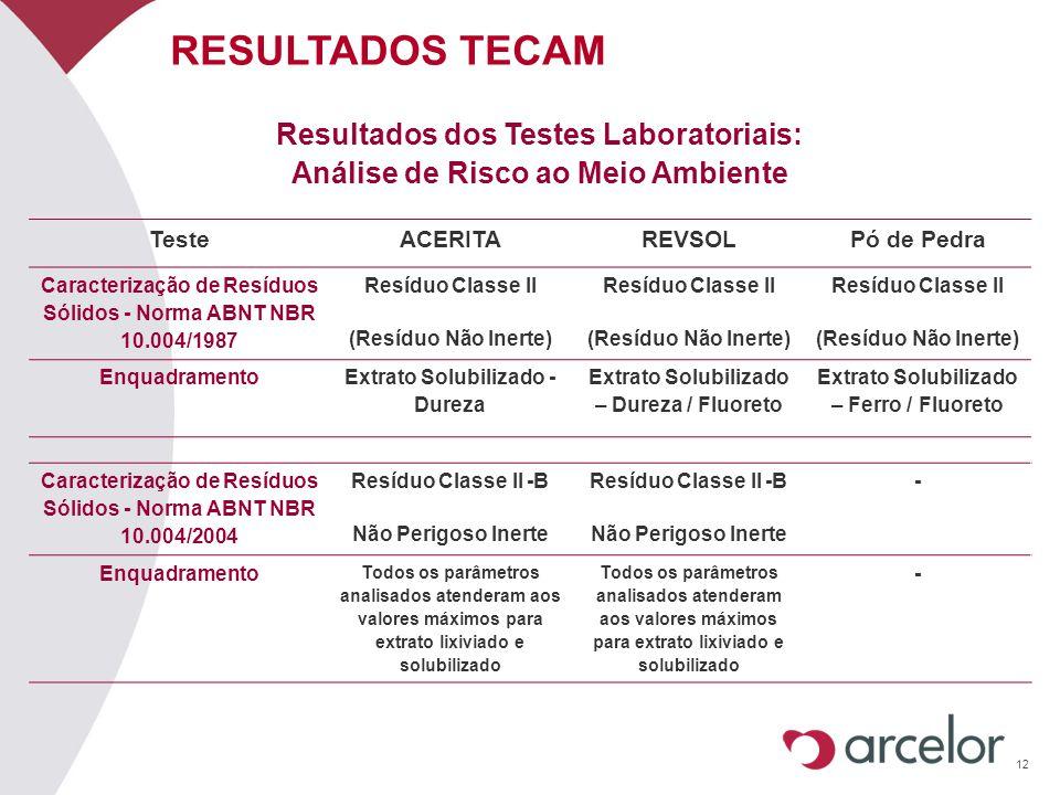 RESULTADOS TECAM Resultados dos Testes Laboratoriais: