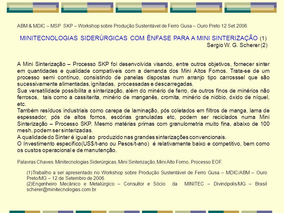 MINITECNOLOGIAS SIDERÚRGICAS COM ÊNFASE PARA A MINI SINTERIZAÇÃO (1)
