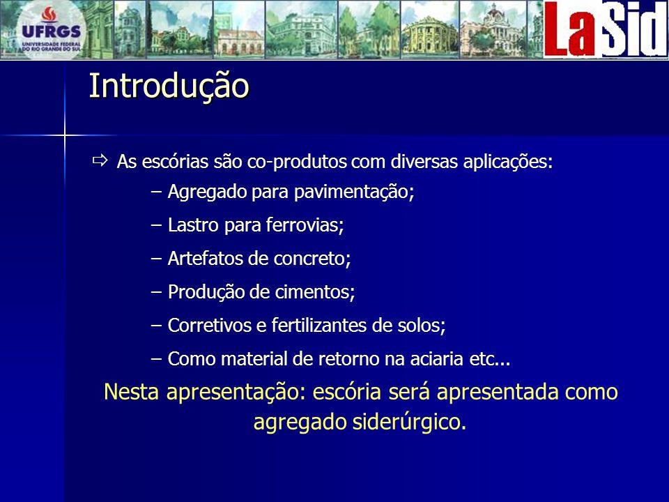 Introdução As escórias são co-produtos com diversas aplicações: Agregado para pavimentação; Lastro para ferrovias;