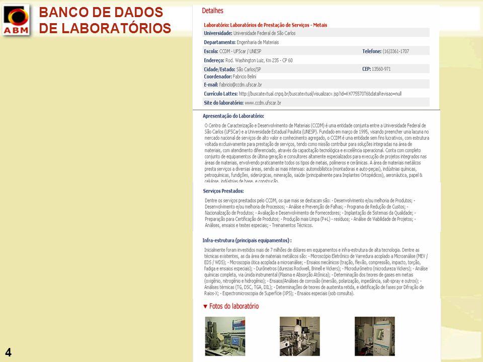 BANCO DE DADOS DE LABORATÓRIOS
