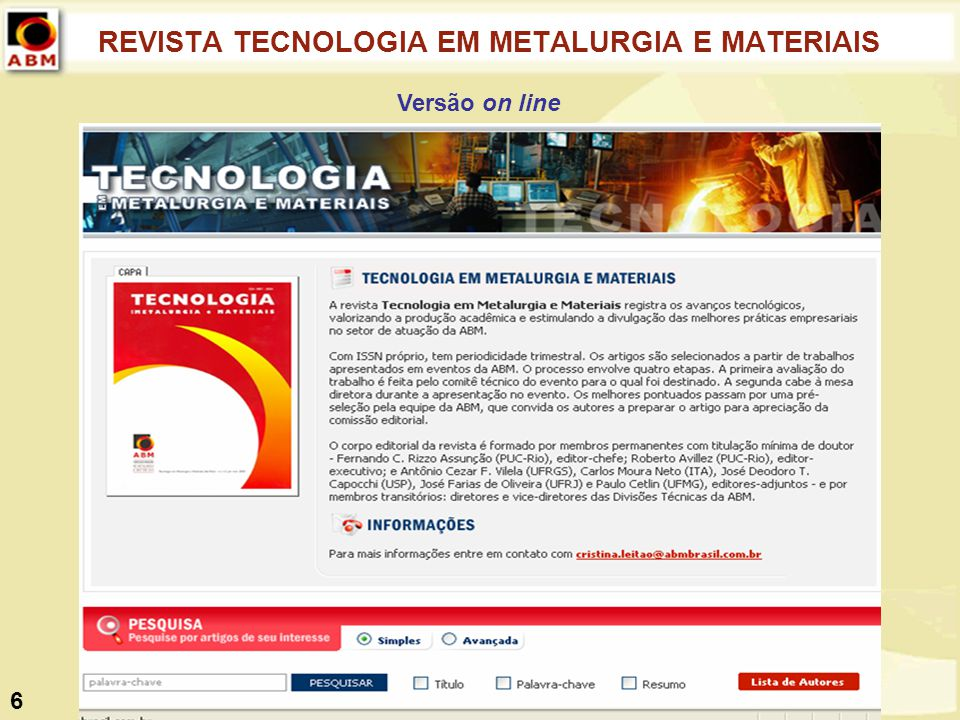 REVISTA TECNOLOGIA EM METALURGIA E MATERIAIS