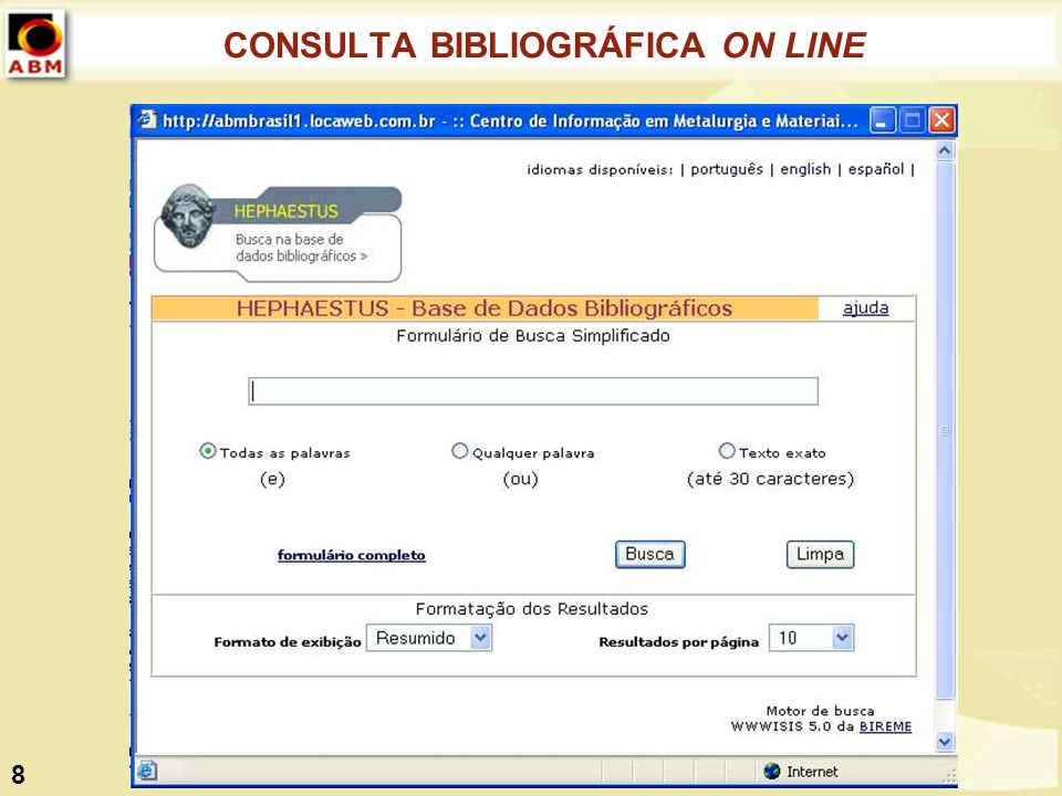 CONSULTA BIBLIOGRÁFICA ON LINE