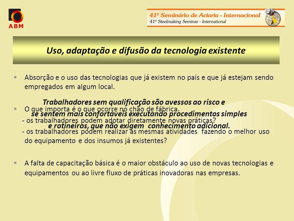 Uso, adaptação e difusão da tecnologia existente