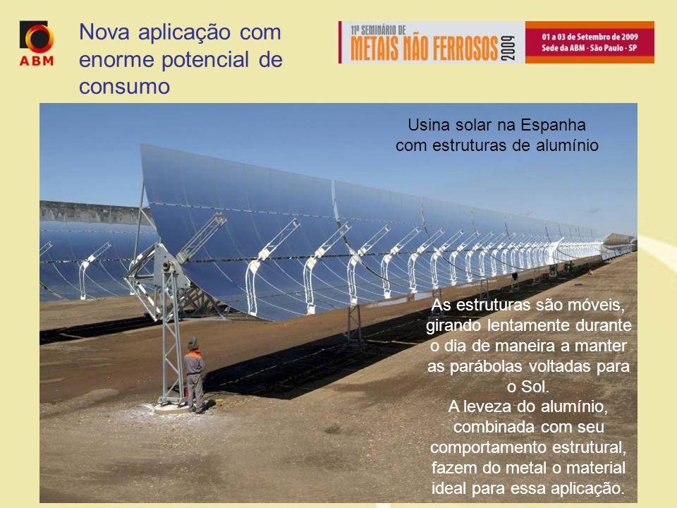 Usina solar na Espanha com estruturas de alumínio