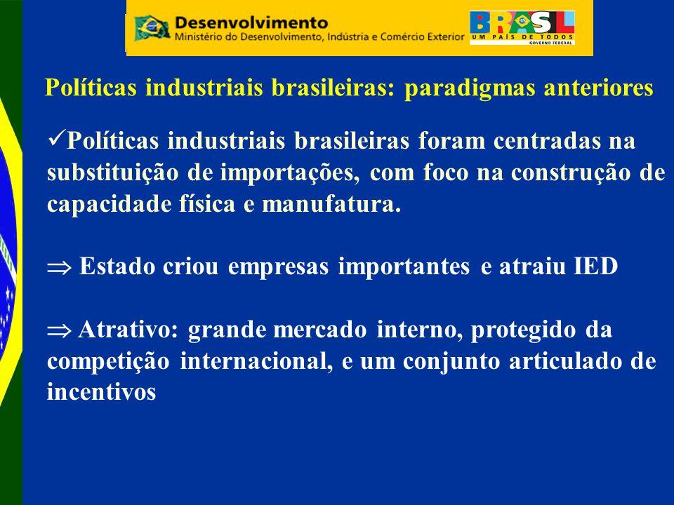 Políticas industriais brasileiras: paradigmas anteriores