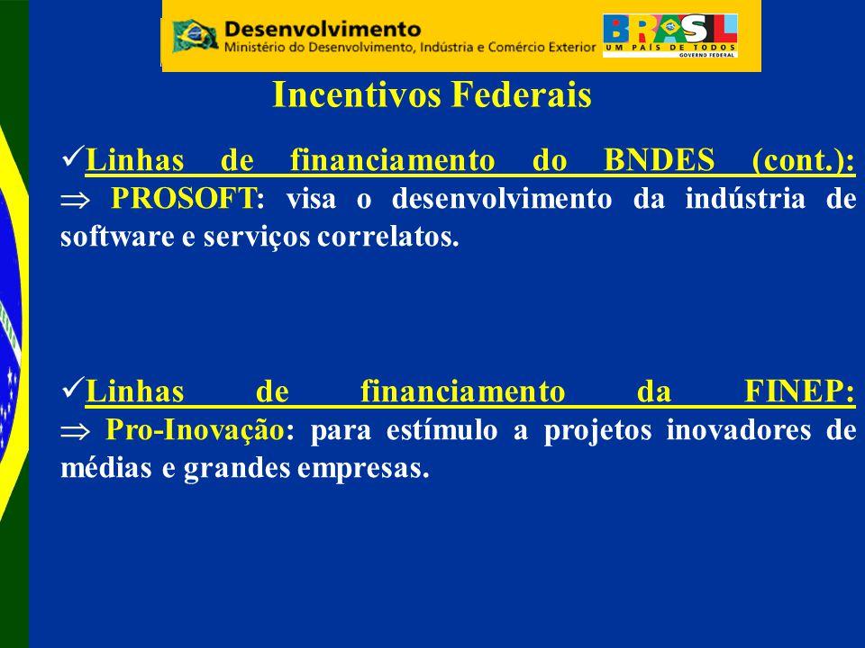 Incentivos Federais Linhas de financiamento do BNDES (cont.):  PROSOFT: visa o desenvolvimento da indústria de software e serviços correlatos.